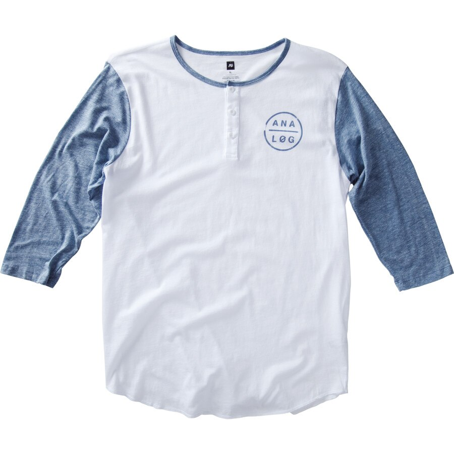 Analog griffin henley t shirt 3 4 sleeve men 39 s for 3 4 henley shirt