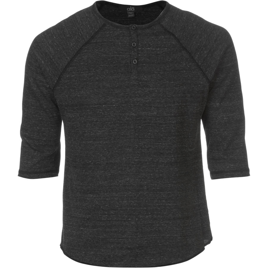 Alo yoga athletic raglan henley shirt 3 4 sleeve men 39 s Yoga shirts with sleeves