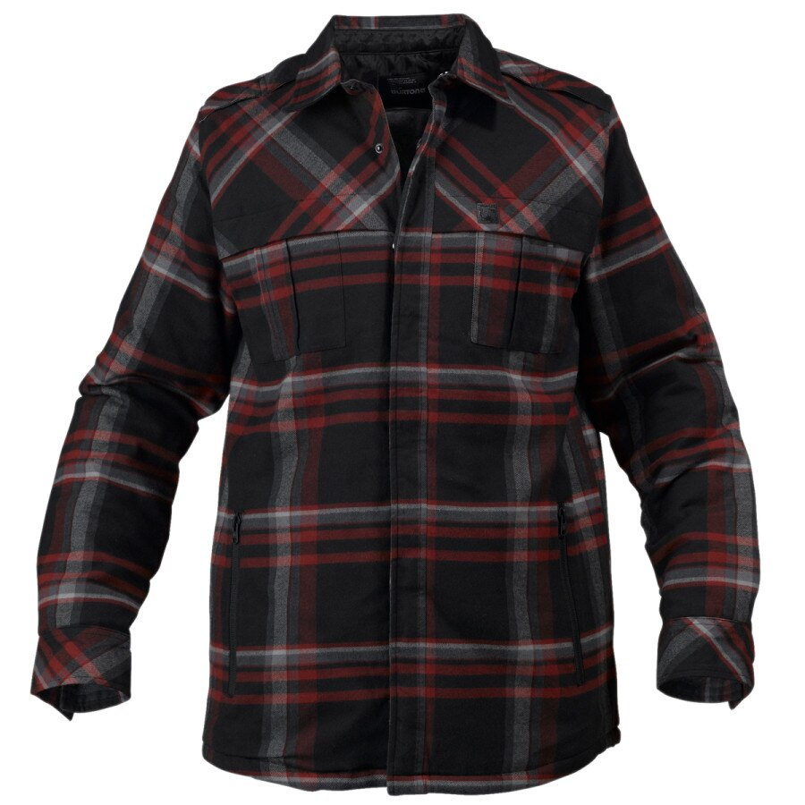 Burton clampdown quilted flannel shirt long sleeve men for Mens long sleeve flannel shirts