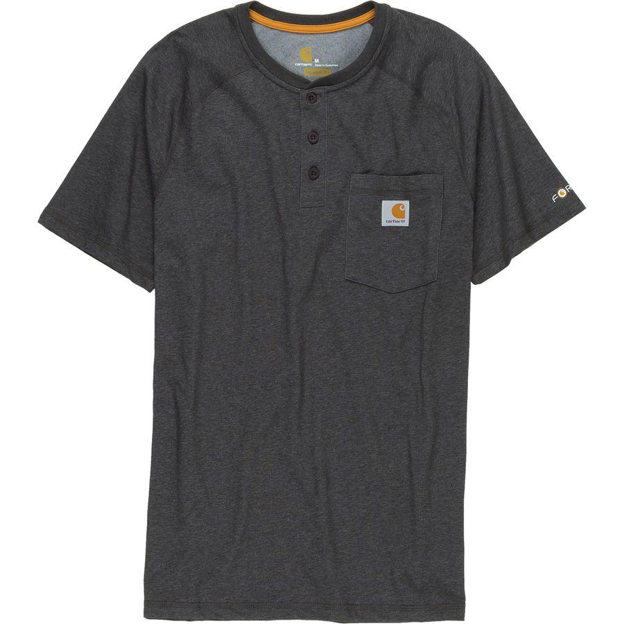 Carhartt force cotton delmont henley shirt men 39 s for Carhartt men s long sleeve lightweight cotton shirt