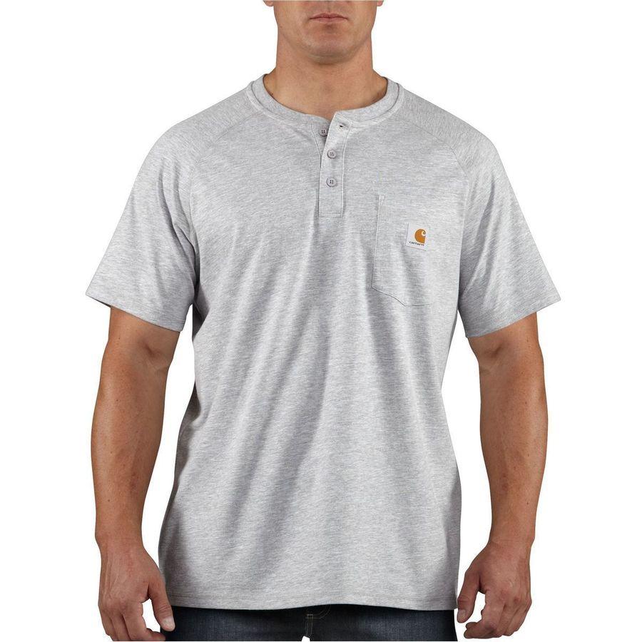 Carhartt Force Cotton Delmont Henley Shirt - Short-Sleeve - Mens