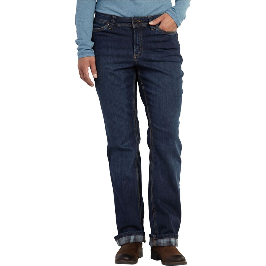 Carhartt relaxed fit flannel lined boone jean denim pant for Women s slim fit flannel shirt