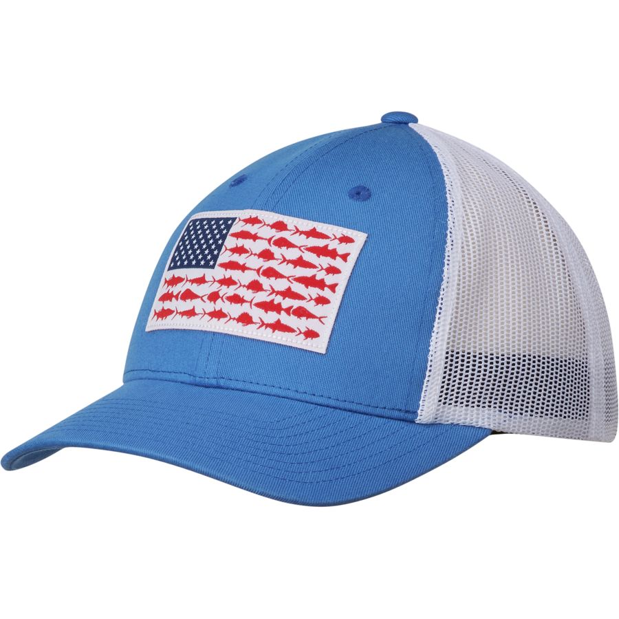 Columbia pfg mesh snap back ball cap for Columbia fish flag hat