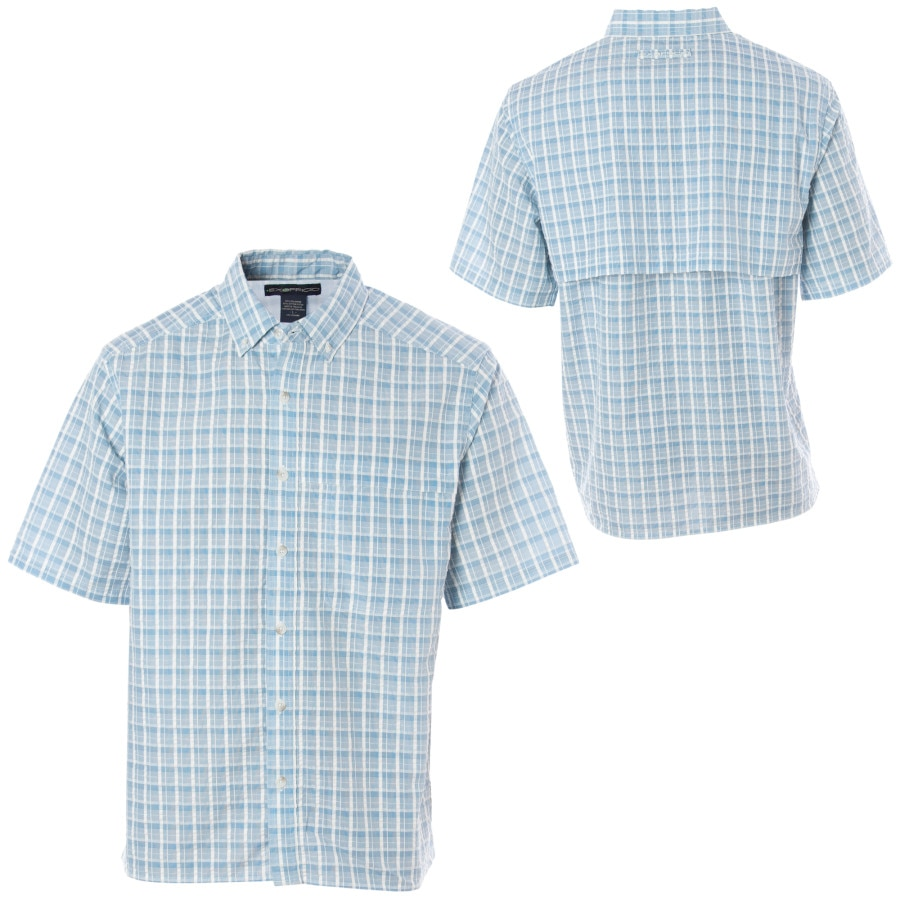 Exofficio sunblock seersucker plaid shirt short sleeve for Mens short sleeve seersucker shirts