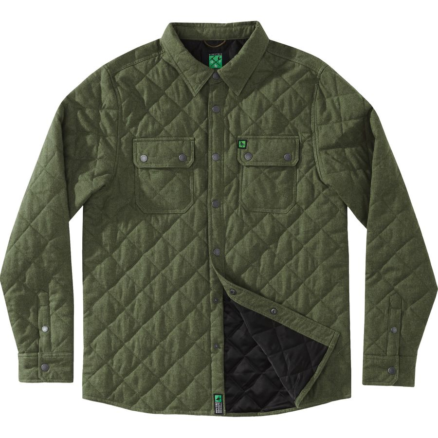 Hippy tree stout quilted flannel shirt long sleeve men 39 s for Cotton polyester flannel shirts