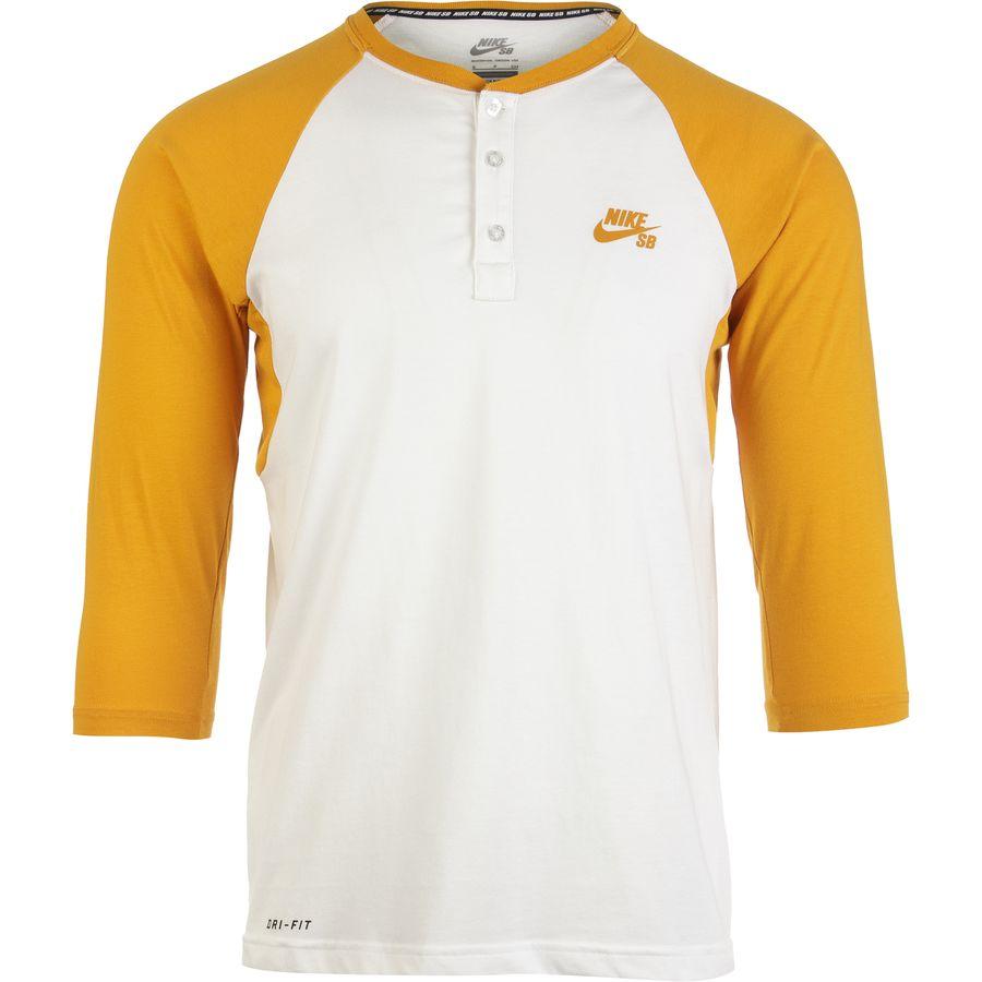 Nike sb dri fit henley shirt 3 4 sleeve men 39 s for 3 4 henley shirt