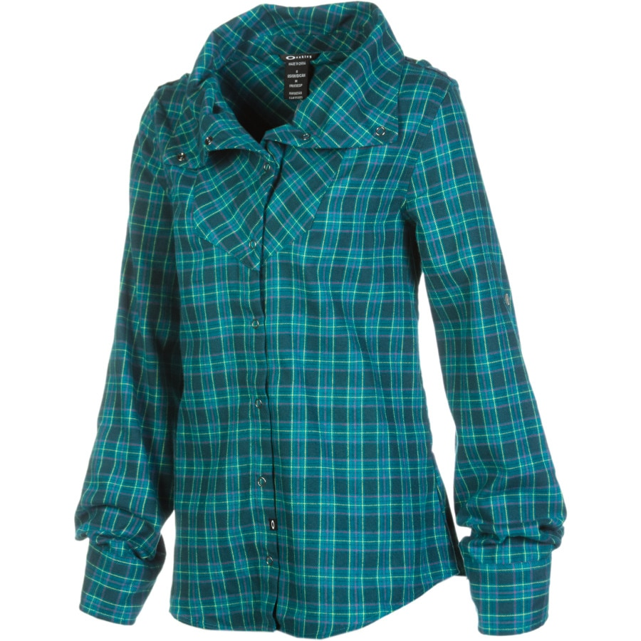 Oakley cairn flannel shirt long sleeve women 39 s for Flannel plaid shirts for women