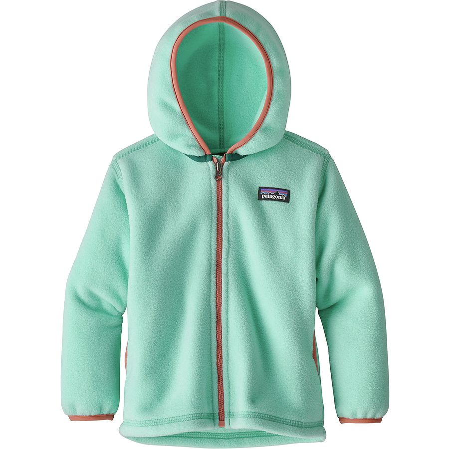 An ultrasoft, double-face fleece cardigan topped with a cozy hood is cut with extra room to make layering a cinch. Made from recycled polyester, the style features a .