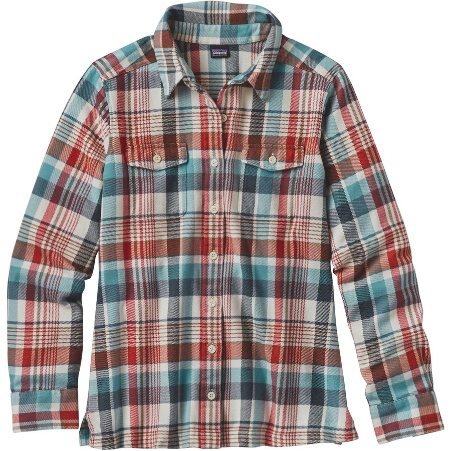 Patagonia fjord flannel shirt long sleeve women 39 s for Womens christmas flannel shirt