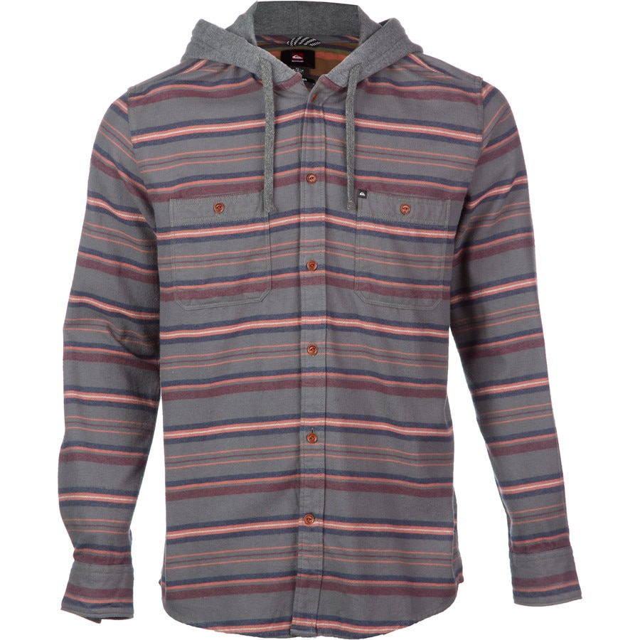 quiksilver pelican hooded flannel shirt long sleeve