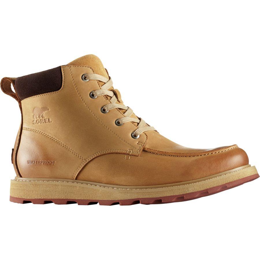 Sorel Madson Moc Toe Waterproof Mens Boots Buff Crouton