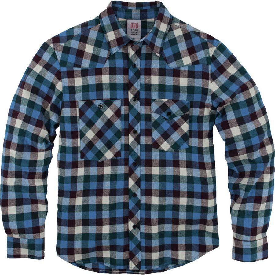 Topo designs plaid flannel work shirt long sleeve men for Long plaid flannel shirt