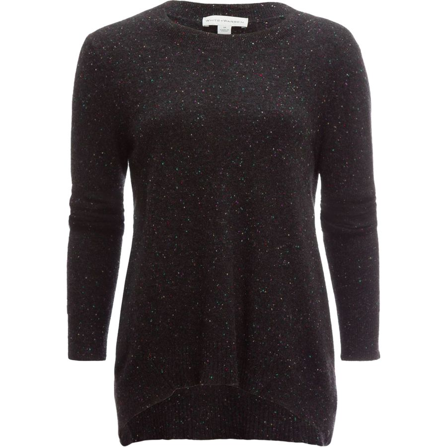 White + Warren Cashmere Hi Lo Crewneck Sweater - Womens