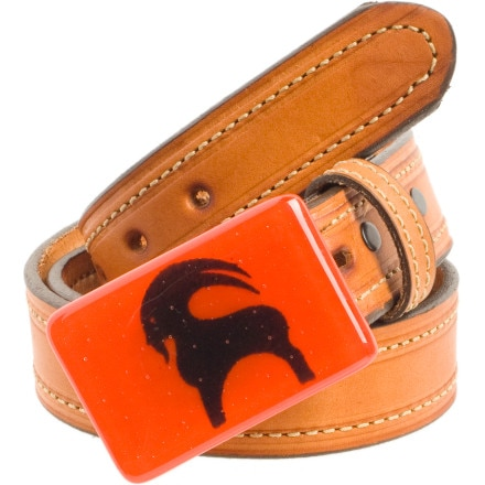 Backcountry Glass Goat Buckle and Leather Belt