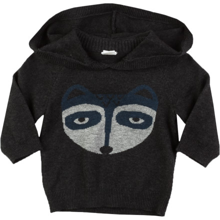 Egg Knit Raccoon Pullover Hoodie - Infant Boys'