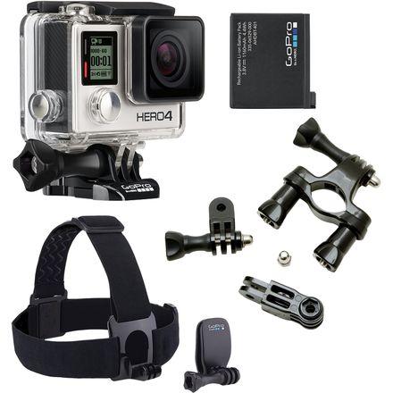 GoPro Hero4 Silver Bundle: GoPro Hero4 Silver + Headstrap, Handlebar Mount, Battery $320