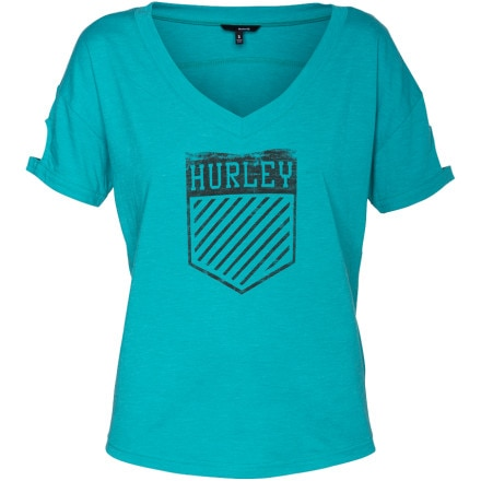 Hurley Pace Cuffed V-Neck Shirt - Short-Sleeve - Women's