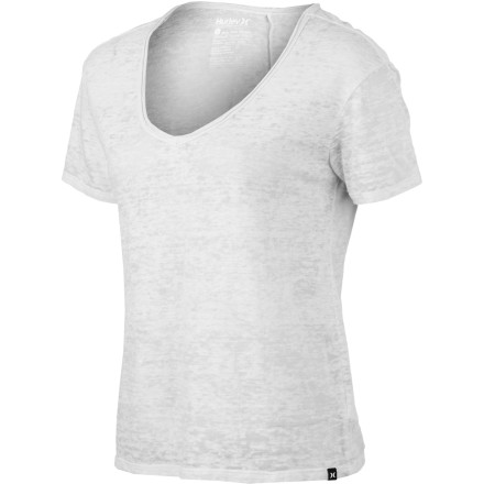 Hurley Solid Burnout Boyfriend V-Neck T-Shirt - Short-Sleeve - Women's