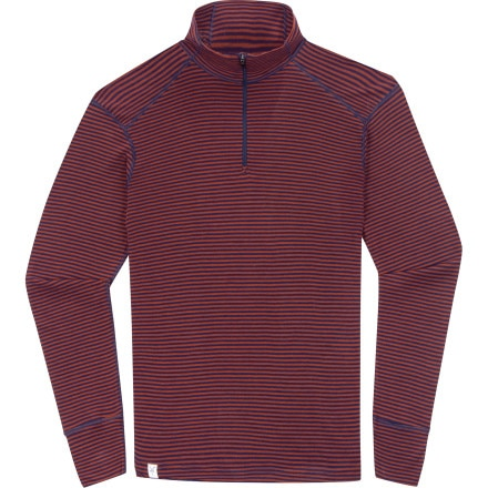 photo: Ibex Woolies Zip T-Neck Stripe base layer top