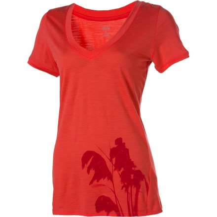 Icebreaker Superfine 150 Tech V-Neck Toi Toi Top - Short-Sleeve - Women's