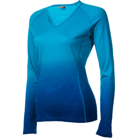 Icebreaker BodyFit 200 Oasis Dusk V-Neck Top - Long-Sleeve - Women's
