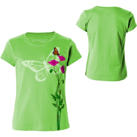 Patagonia Poppies And Butterflies T-Shirt - Short-Sleeve - Girls'