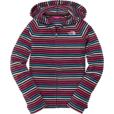 The North Face Striped Glacier Full-Zip Fleece Hooded Jacket - Girls'