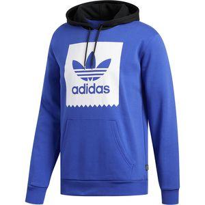 아디다스 Adidas Solid Blackbird Pullover Hoodie - Mens,Active Blue/White/Black