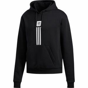 아디다스 Adidas Solid Pillar Hoodie - Mens,Black/White