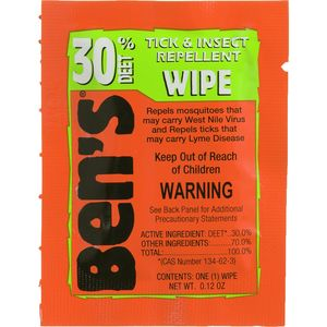Adventure Medical Ben's 30 Deet Tick & Insect Repellent Field Wipe - 12 Pack