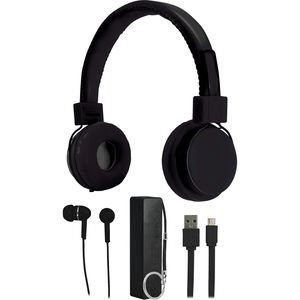 Audiology 4-in-1 Audio Set - Headphones, Earbuds, Battery Charger, USB Cable