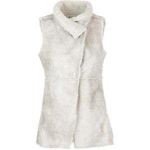 Dylan Long Raw Edge Vintage Natural Shearling Vest - Women's