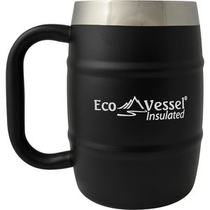 Eco Vessel Double Barrel Beer Mug with Lid