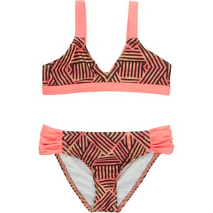 Hurley Basket Weave Triangle & Tab Side Swimsuit - Girls'
