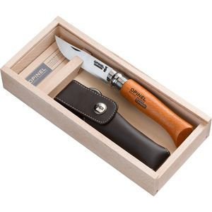 Opinel Carbon Tradition Knife - Wooden Gift Box and Sheath