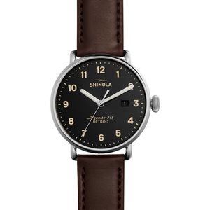 Shinola Canfield 43mm Leather Watch