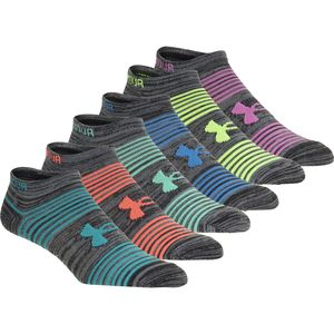Under Armour UA Essential Twisted 2.0 No Show Sock - 6-Pack - Women's