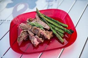 Glazed Flank Steak with Grilled Asparagus