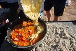Dutch Oven Jambalaya with Cornbread Top
