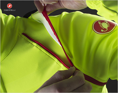 Save atleast 20% on clothing from Castelli, including the Competitive Cyclist-exclusive fluo yellow Gabba 2 convertible jacket.
