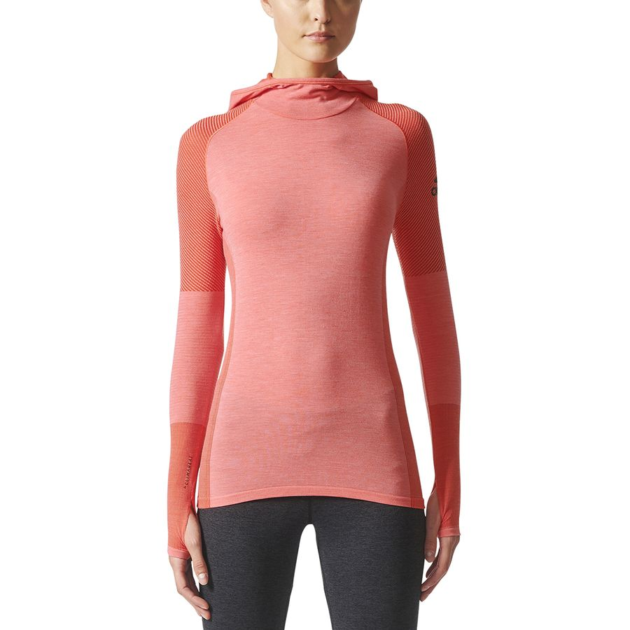 Adidas - Climaheat Primeknit Hooded Shirt - Long-Sleeve - Women's - Easy  Coral/