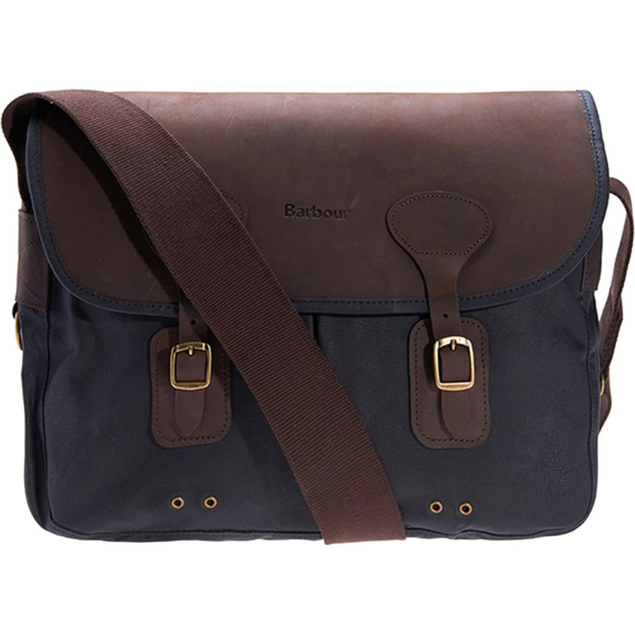 Barbour Wax Leather Tarras Bag Navy