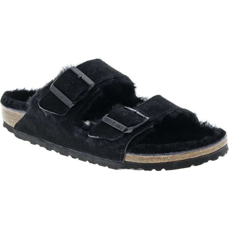 Birkenstock - Arizona Shearling Lined Narrow Sandal - Women s - Black Black  Suede d9d09df0079