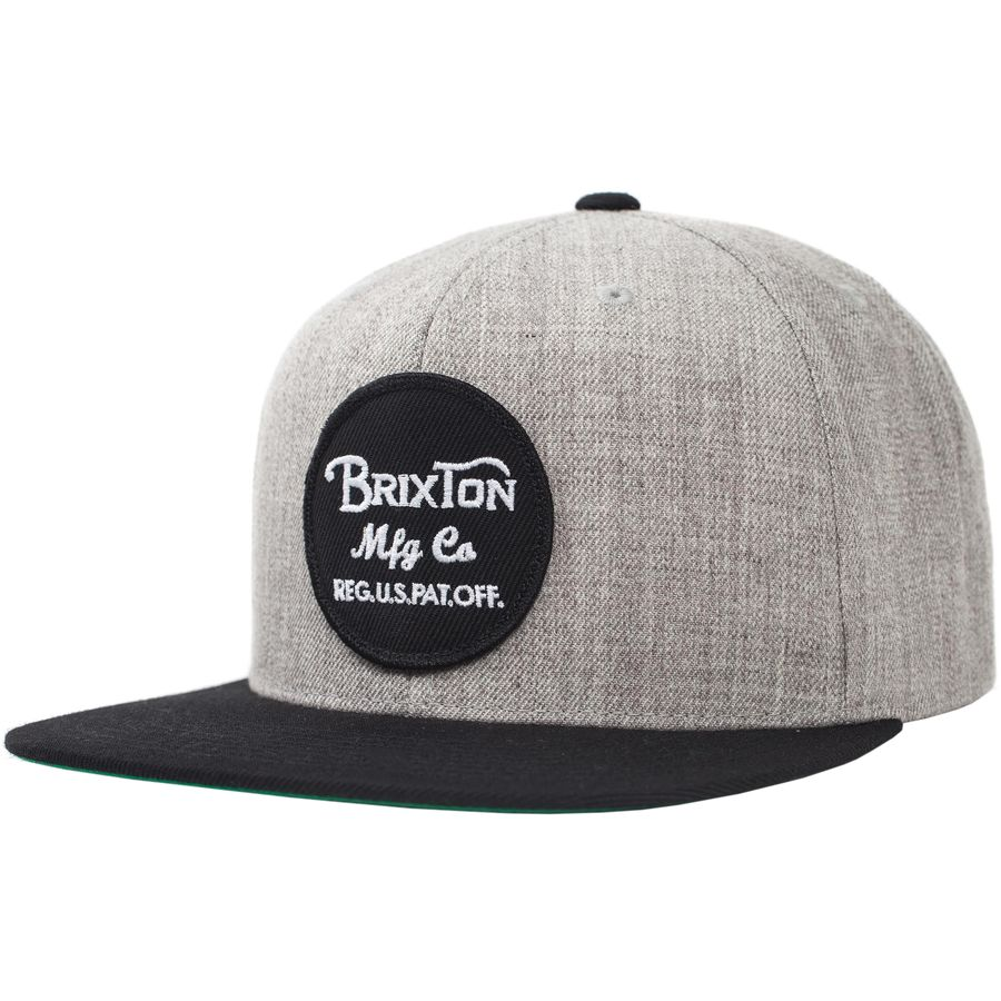 Brixton - Wheeler Snapback Hat - Men s - Light Heather Grey Black 10bd0599ac7