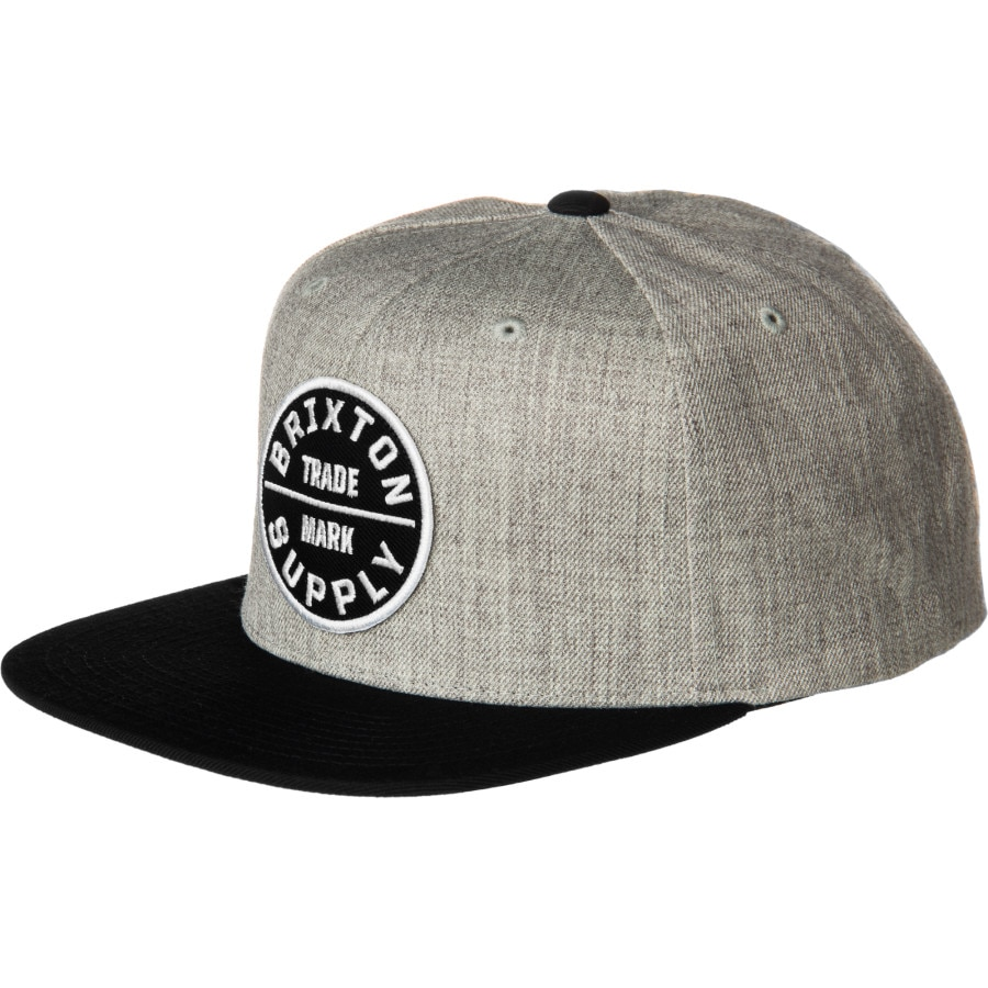 Brixton - Oath III Snapback Hat - Men s - Heather Grey Black 45fa94a0752