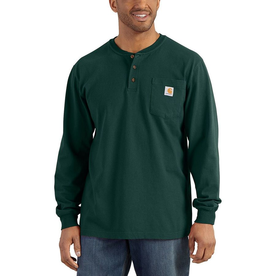 9cb1eece Carhartt - Workwear Pocket Long-Sleeve Henley Shirt - Men's - Hunter Green
