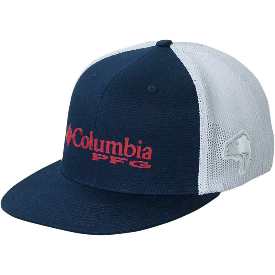 Columbia - PFG Mesh Flat Brim Hat - Men s - Collegiate Navy Sail Red f8537c5383ad