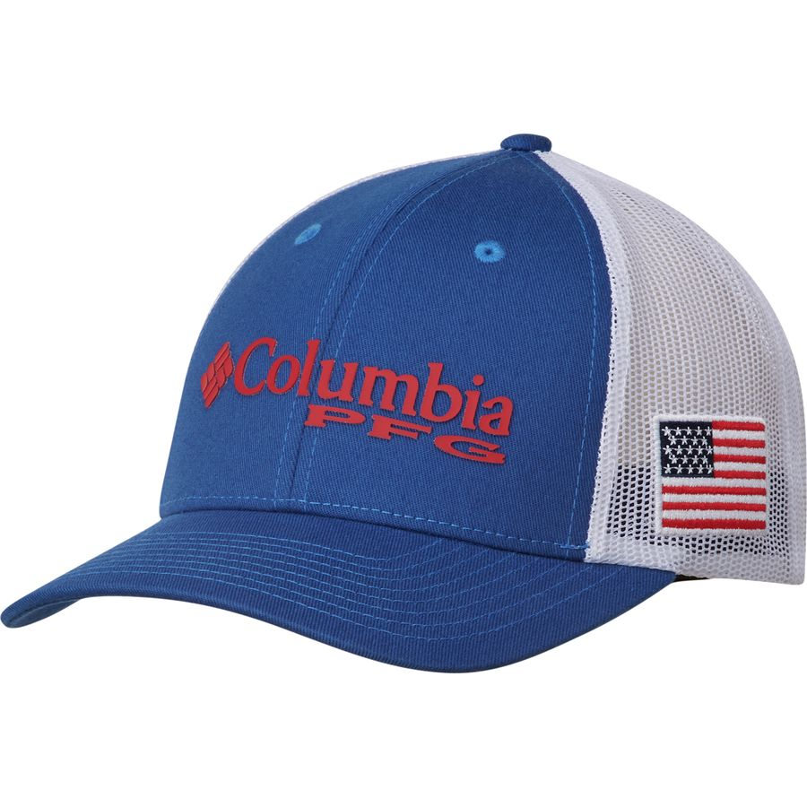 b6c3db97 Columbia - PFG Mesh Snap Back Ball Cap - Men's - Mountain Blue/Usa Flag