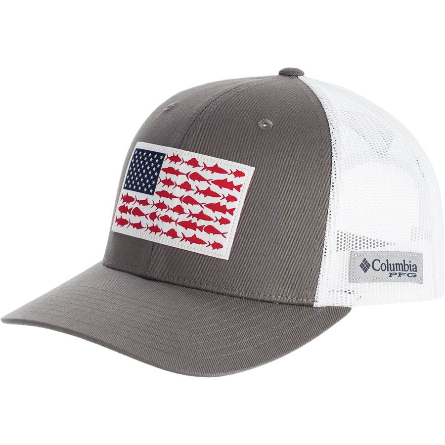 3bc59214b3458 Columbia - PFG Mesh Fish Flag Snap Back Trucker Hat - Titanium White