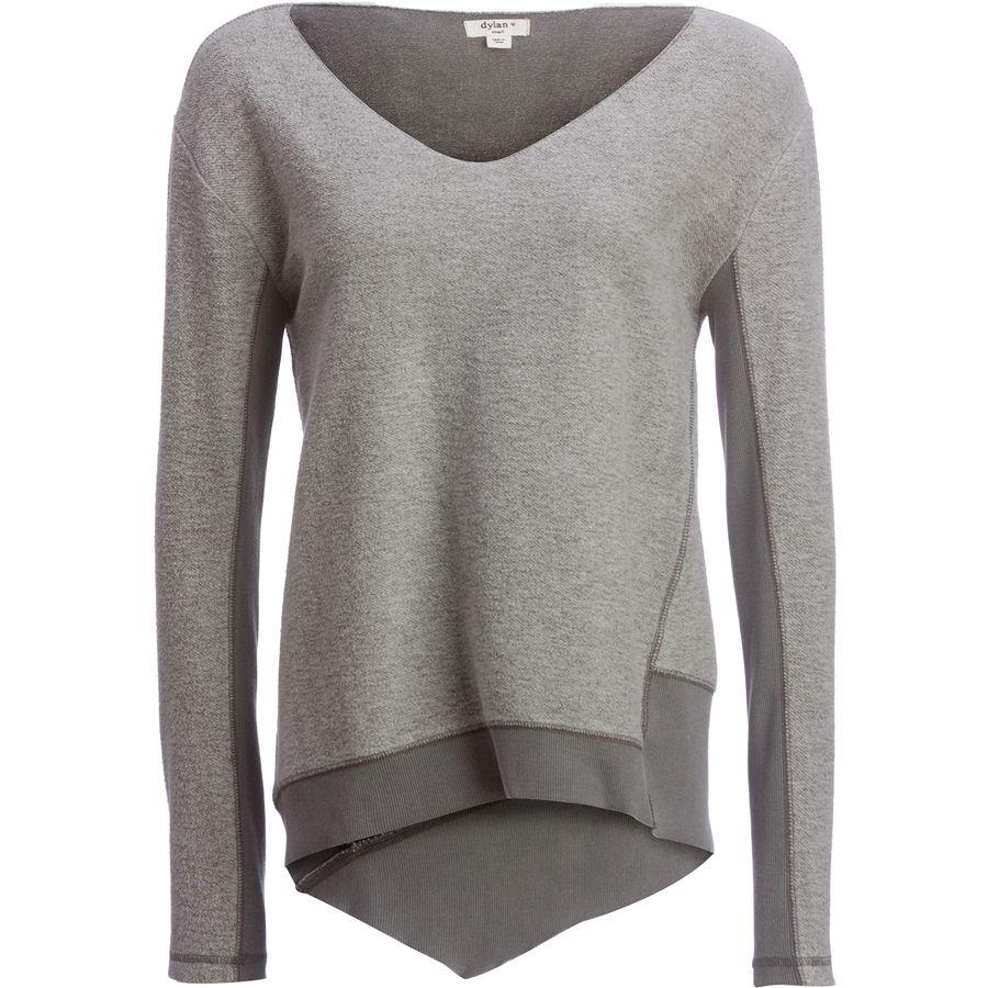 Dylan Fuzzy Face Brushed Back Vintage Fleece V-Neck Sweater - Womens